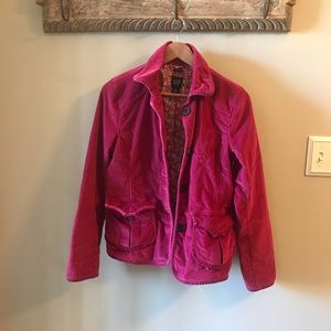 GAP Dark Berry Pink Corduroy Button Down Blazer
